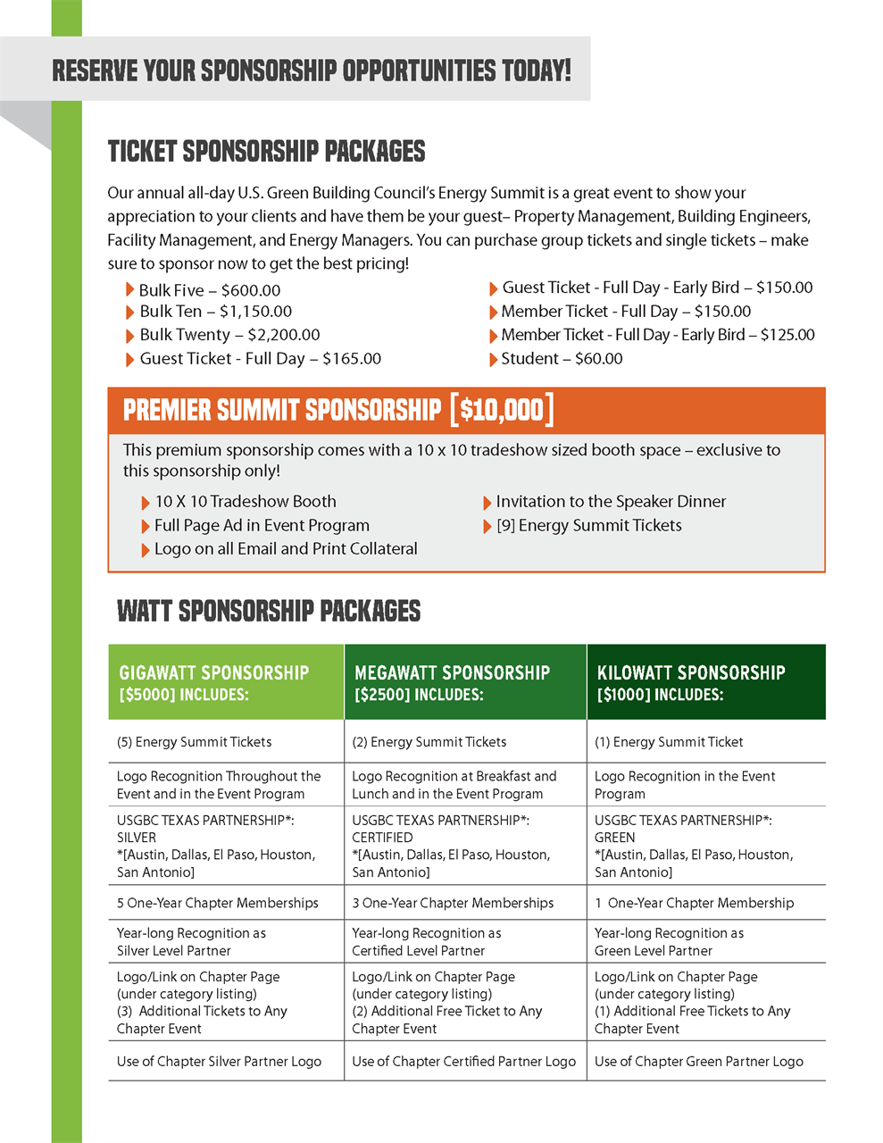 USGBC Texas - 2019 USGBC Texas Energy Summit Sponsorship
