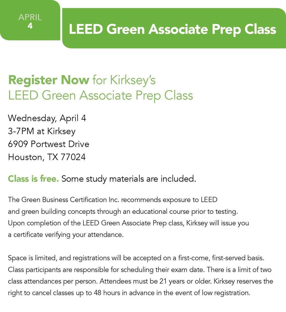 Usgbc texas event calendar kirkseys leed green associate prep class is a resource for those who are interested in gaining the leed green associate credential xflitez Images